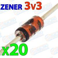 Diodo Zener 3v3 3,3v 500mW ±5% - Lote 20 unidades - Arduino Electronica DIY