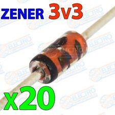 Diodo Zener 3v3 3,3v 500mW ±5% - Lote 20 unidades - Electronica Arduino DIY