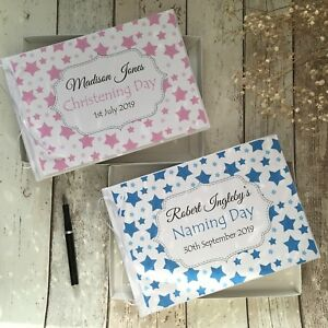 PERSONALISED BABY CHRISTENING/NAMING DAY GUEST BOOK + GIFT BOX ~ PINK/BLUE STARS