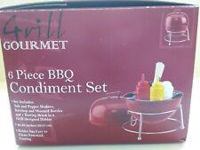 Grill Gourmet 6 Piece Table Top Condiment Bbq Set Nip