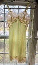 New listing Vtg New Wonder Maid Nylon Sheer Yellow Beige Lace Full Slip Nightie Usa Sz 32 S