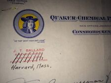 Quaker Chemical Conshocken Pa Color Letterhead To Congressman Philbin 1949