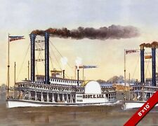 THE GREAT STEAMBOAT RACE ROBERT E LEE V NATCHEZ PAINTING ART REAL CANVAS PRINT