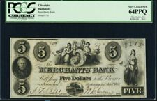 1852 $5 Merchants Bank -  Washington, D.C. P.C.G.S. 64 PPQ Obsolete Currency -