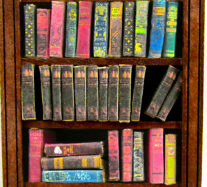 1:24 Scale 12 ENCYCLOPEDIA BOOKS Miniature Books Prop Faux Fill a Bookshelf