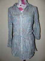 Neue Elegante Zero Damen Seiden Tunika Bluse Gr 42 Blau/Beige Langarm NEU/OVP
