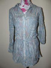 Neue Elegante Zero Damen Seiden Tunika Bluse Gr 34 Blau/Beige Langarm NEU/OVP