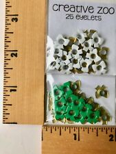 """25 White & 25 Green Bow  3/16"""" Eyelets Scrapbooking Card Making - NEW"""