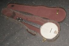 1950s Hardens Werco Banjo Ukulele w/ Old Violin Case. Metal Neck Dixie Banjolele