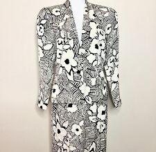 Vtg 80s Julie Francis Women's Suit 100% Silk Skirt Blazer Black Ivory Lined