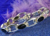 "ONYX Estate 0.925 Sterling Silver 7 1/2"" X 7/16"" Tennis Bracelet"