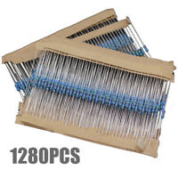 1280pcs 64 values 1 ohm - 10M ohm 1/4W Metal Film Resistors Assortment Kit Set