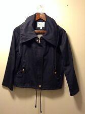 David Brooks Women's Jacket Navy Blue Size Medium Zip & Snap Front Drawstring