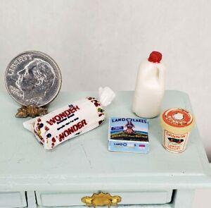 Vintage Miniature Milk Wonderbead Yogurt & Butter Dollhouse 1:12 Groceries Lot