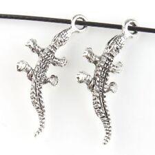 50pcs Antique Silver Crocodile Style Pendants Zinc Alloy Charms Fits Necklace J