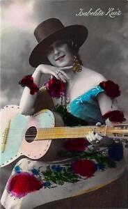 RPPC ISABELITA RUIZ Spanish Guitarist Musician Vintage Music Postcard ca 1920s