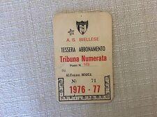 TESSERA ABBONAMENTO CALCIO A.S. BIELLESE  CAMPIONATO 1976/77  TRIBUNA NUMERATA