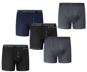 3 X Pairs Men's Quality Assorted Plain Colours Cotton Rib Boxer Shorts Plus Size