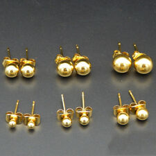 Fashion Stainless Steel Ball Stud Earrings Round Ball Beads Unisex Stud Earrings