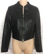 Rene Lezard Jacket Black Leather Short  Zip Up Size 36