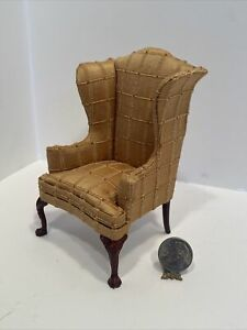 Early Bespaq Gold Textured Silk Wingback Chair Dollhouse Miniature 1:12 FINE