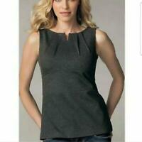 CABI #649 Ponte Perfect Shell Stretch Sleeveless Top Charcoal Gray Women's 12