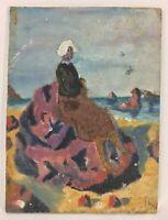 HUILE SUR PANNEAU DE BOIS SUJET BRETONNE ART NAIF 1930 NON SIGNE B1077