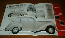 ★★1948 BENTLEY MK VI ORIGINAL IMP BROCHURE SPECS INFO 48 46 47 49 50 51 52 MKVI★