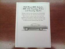 1963 Ford Big-Car factory cost/dealer sticker pricing for car + options