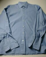 Charvet Mens French Cuff Dress Shirt Size 16 Solid Blue Made In France Cotton