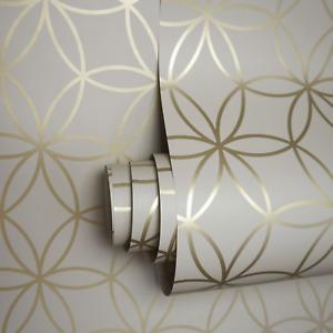 Geometric Beige Metallic Gold Circular Holden Diso Feature Wallpaper