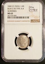 1840(B&C) British India Silver 1/4 Rupee!  34 Berries! NGC MS-63! KM-453.4!