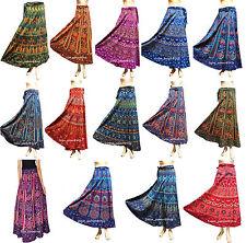 Lot of 14 Indian Women Floral Rapron Printed Cotton Long Wrap Around Skirt