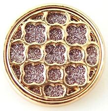 Gold Pink Sparkle 20mm Snap Charm Interchangeable for Ginger Snaps Jewelry
