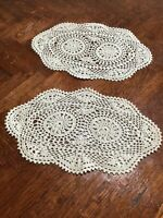 """2 Vintage, Handmade Crochet Doily, Round Oblong  Table Doilies, ivory 9.5"""""""