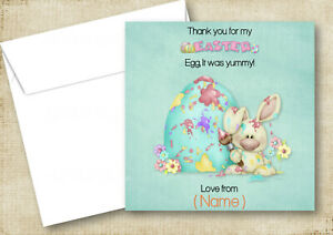 QUALITY PERSONALISED BUNNY PAINTING AN EGG EASTER THANK YOU CARDS (2A) SON DAUGH