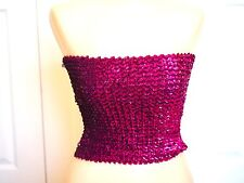 vintage 80s Pink SEQUIN Tube Top glam rock PUNK new wave Creations III Small