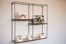 NEW Retro Wall Mounted Square Shelf Metal Display Unit Floating Shelving Storage