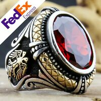 Turkish Handmade Ottoman 925 Sterling Silver Ruby Eagle Men's Ring All Sizes