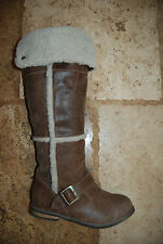 Brown Distressed Leather & Sheepskin NINE WEST Tall Pull On Boots w/Strap 5.5 M