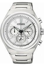 Citizen Eco-Drive Mens Super Titanium White Dial Chronograph Watch - CA4021-51A