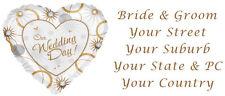 96 LARGE PERSONALISED WEDDING INVITATION RETURN ADDRESS LABEL STICKERS HEART