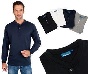 Langarm Serafino Shirt mit Knopfleiste Qualityshirts Gr. S - 6XL