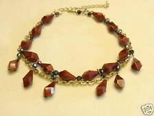 Wood Tone Plastic Bead and Chain Necklace