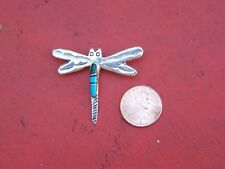 Sterling Silver Dragonfly Pin w Turquoise - Mexico
