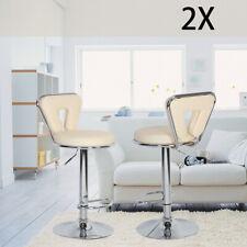 2 X Bar Stools Faux Leather Kitchen Breakfast Barstools Beige  Lift Swivel