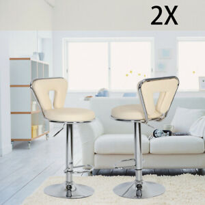 2 X Bar Stools Faux Leather Kitchen Breakfast Barstools Beige  Lift Swivel