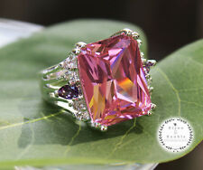 Silver Huge Pink Topaz Emerald Cut CZ Cocktail Ring HOT GLAMOROUS Size 8 NEW