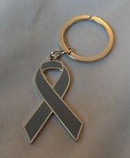*NEW* Schizophrenia Awareness ribbon enamel grey keyring. Charity, badge.