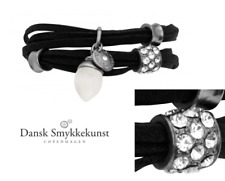 Dansk Smykkekunst Copenhagen, Leder Armband/Kette , Zirkonia,Süße Erdbeere,7C885